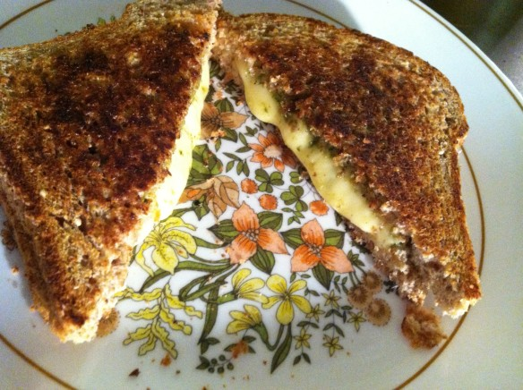 Pesto and grilled cheese.  For breakfast!